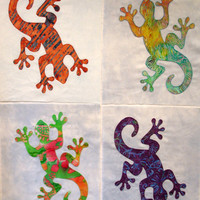Gecko Appliqued Quilt Blocks