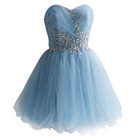 SZMH Women's Sweetheart Sky Blue Tulle Short Prom Dress With Sequins