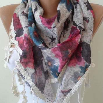 BeigePink and Blue Flowered Triangular Scarf by SwedishShop