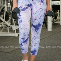 Athletic Sports Capris | Lilac Floral