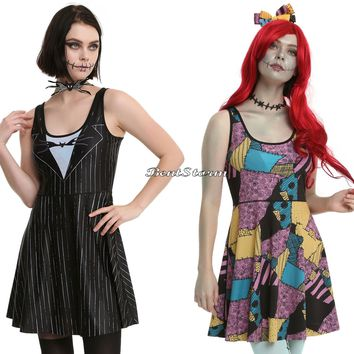 Licensed cool Disney The Nightmare Before Christmas Sally Jack REVERSIBLE 2-N-1 Costume Dress