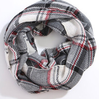 Plaid Infinity Scarf - White