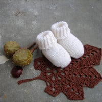 Pure white baby socks, christening booties, baptism, choose size: newborn, 3-6 month, 6-12 month