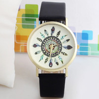 Super hot high quality women vintage watch feather dial leather band clocks unique
