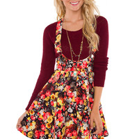 Just Yesterday Floral Overall Dress