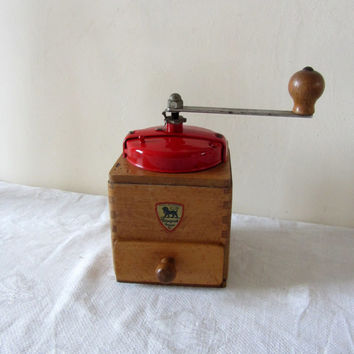 Vintage French Coffee Grinder Mill Peugeot Freres Red