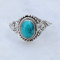Turquoise stone ring, silver ring,  stone ring, silver turquoise ring, 92.5 sterling silver, Natural Turquoise Silver Ring,  RNSLTR4