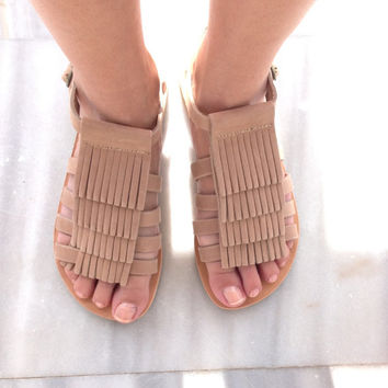 SALE boho sandals, leather sandals, gladiator sandals,  Fringed Leather Sandals,