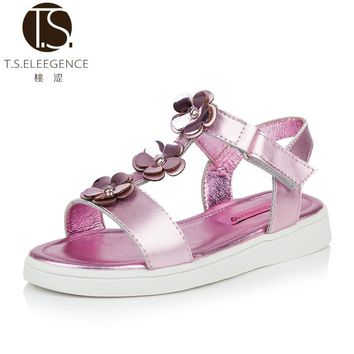T.S. kids shoes girls floral Sandals platform heels infant women flower anti slip Leather Shoes gold sliver Size 26-37