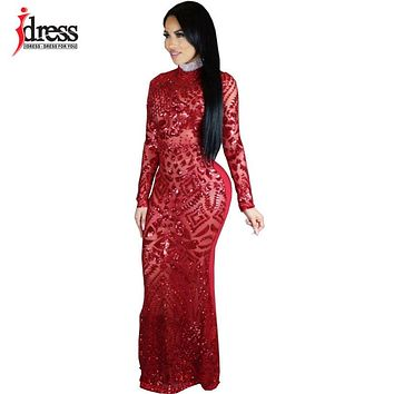 IDress 2018 Sexy Turtleneck Long Sleeve Sequined Party Dresses Floor Length Full Sleeved Bodycon Black Maxi Dress Evening Gown