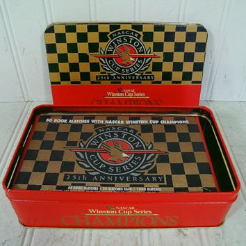 NASCAR Winston Cup Series Champions 25th Anniversary Collectible Tin with 50 Book Matches with NASCAR Winston Cup Champions - Never Opened