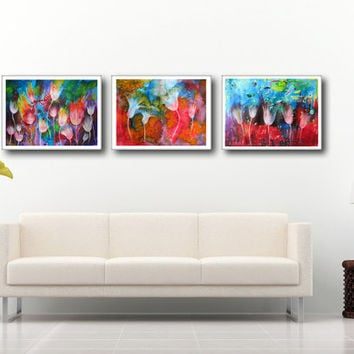 3 Piece Abstract Large Art Prints White flowers, Watercolor Paintings, Landscape  Vibrant color Colorful, High quality,  Wall and Home decor