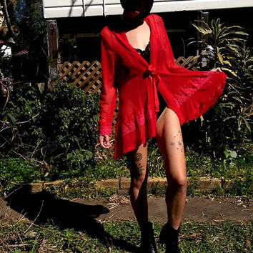 Red sheer micro mesh net duster jacket mini lingerie dress long sleeve lace teddy 90s goth grunge vixen flare embroidered