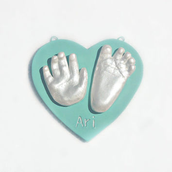 Ceramic Hand Print and Foot Print Art - Baby Ornament Keepsake - Hand & Footprint Mold Kit