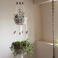 Macrame pot plant hanging basket with red bead