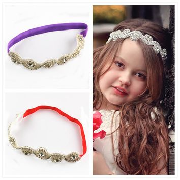 2pcs/lot New Style 12Colors Europe and America Exaggeted Rhinestones Button Headbands For Girls Hair Beauty Headwear FDA12