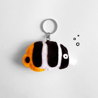 Tropical fish keychain, felt cute white, black and yellow fish, sea animal keyring, summer accessory and gift idea