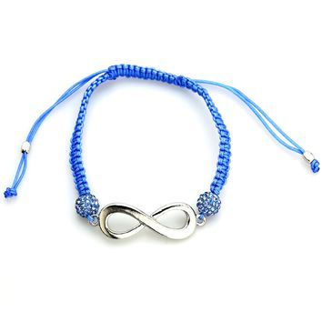 2 Blue Crystal on Cord Adjustable Bracelet with Infinity Sign