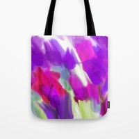 Meadow Flowers Abstract 2 Tote Bag by Jen Warmuth Art And Design