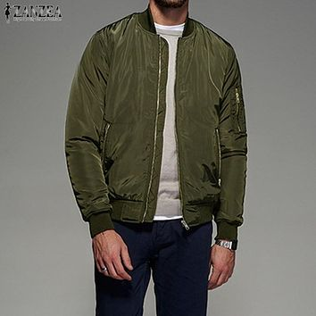 Mens Zip-up Bomber Biker Jacket