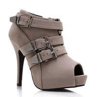 Triple-Buckle-Faux-Nubuck-Booties BLACK GREY TAUPE - GoJane.com