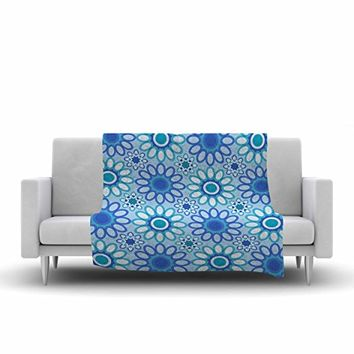 "KESS InHouse Julia Grifol Flowers Tile Blue Green Vector Fleece Throw Blanket, 60"" x 40"""
