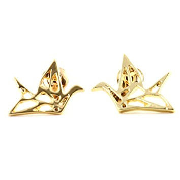 Origami Peace Crane Outline Stud Earrings Gold Tone EK03 Japanese Paper Bird Fashion Jewelry