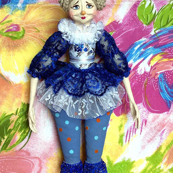 Art doll OOAK Interior doll Paper mache doll Gift doll Clown Handmade doll Collectible doll