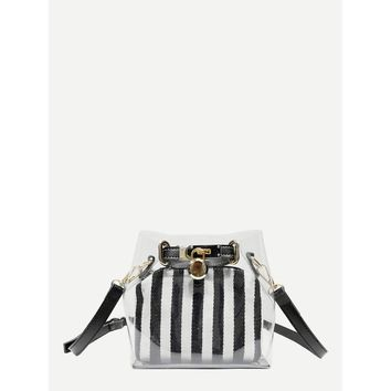 Black And White Clear Bag With Striped Inner Clutch