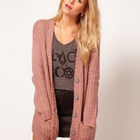 ASOS Chunky Rib Cardigan In Pastels at asos.com
