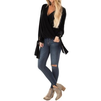 Women's Black Flare Sleeve Blouse with Deep V-Neck
