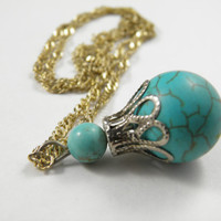 Turquoise 'Mana Potion' Pendant with silver accents and gold filled necklace