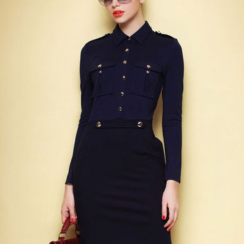 Dark Blue Long-Sleeve Shirt Collar Bodycon Mini Dress