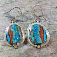 Vintage Colorful Multi Color Stone Earrings Dangles Southwest Native American Style 925 Sterling Silver Hook Wires Bezel Set Stones Dangles