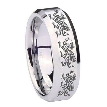 8mm Multiple Dragon Beveled Edges Silver Tungsten Wedding Engagement Ring