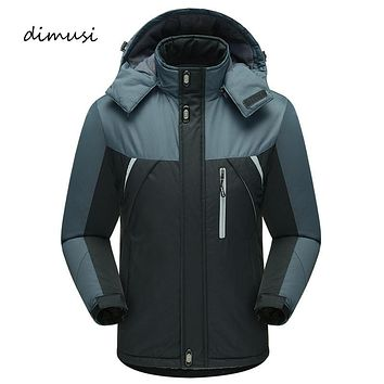 Dimusi Winter Jacket Men Thick Thermal Parkas Male Warm Hooded Windproof Waterproof Hood Men Thick Fleece Coats Parkas 5XL,YA711