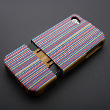 Ombre Strip Engineered Wood iPhone 4s Case - Custom iPhone 4 Case - iPhone 4s Phone Cases - Wooden iPhone 4 4s Case - iPhone 4 4S Case Wood