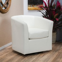 Corley Off-White Leather Swivel Club Chair