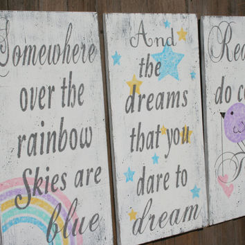 Somewhere Over The Rainbow Nursery Decor Wood Nursery Wallhanging Girls Nursery Boys Nursery Distressed Wood Vintage Nursery