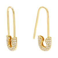 Diamond Safety Pin Earrings 14KT