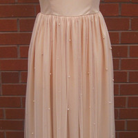 UK8 US4 Nude Blush Vintage inspired 1920s Flapper Gatsby Vibe Deco Embellished Polka Dot Wedding Bridesmaid Prom Maxi Dress Hand Made New