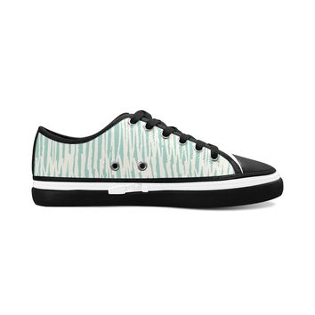 Green Stripes Theme Black Base Women's Nonslip Canvas Shoes