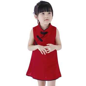 Baby Girls Spring Summer Dress Chinese Style Sleeveless Cheongsam Vintage Dress Girl Party Dress Children Clothes Red Blue Pink