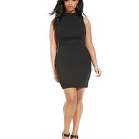 Plus Size Cut Out Sleeveless Dress in Black