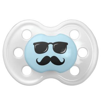 Funny incognito blue smiley face with mustache baby pacifier from Zazzle.com
