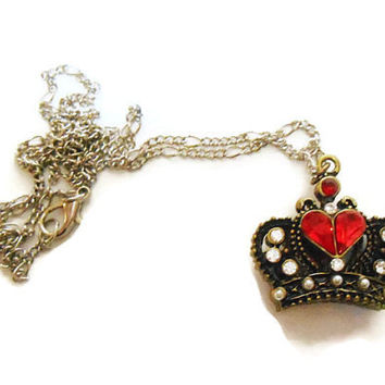 Once Upon A time abc Fairytale Alice In Wonderland Red Queen of Hearts Crown Necklace pendant girls jewelry fantasy jewelry