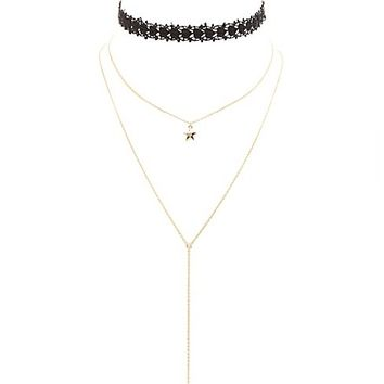 Lace Choker & Layering Necklaces - 3 Pack