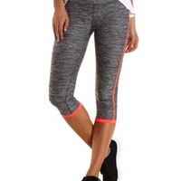 Gray Combo Neon-Trim Active Capri Leggings by Charlotte Russe