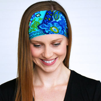 Yoga headband, workout headband, Running headband, Womens wide boho headband, Ladies stretch fabric headband, Fitness headband