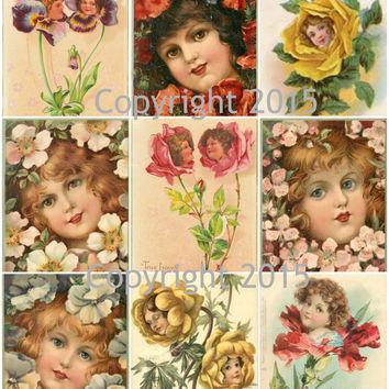 Victorian Flower Faces Collage Sheet  Printed Collage Sheet,  Weddings, Decoupage, Scrapbook, Altered Art, Victorian Scrap